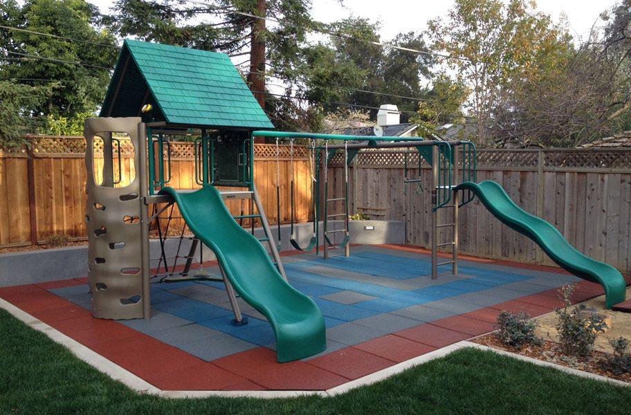 Playground Tiles for kids in the backyard