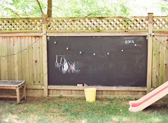chalkboards on the wooden fencing around the backyard